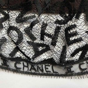 Chanel 98A black lace logo skirt brown lining 12